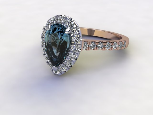 Natural London Topaz and Diamond Halo Ring. Hallmarked 18ct. Rose Gold