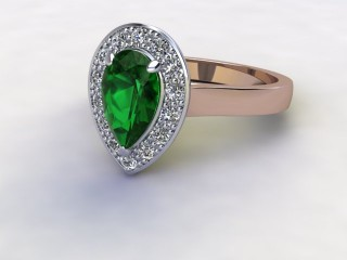 Natural Green Tourmaline and Diamond Halo Ring. Hallmarked 18ct. Rose Gold-08-0451-8940