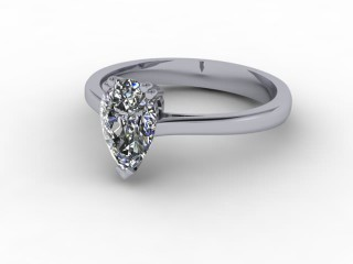 Certificated Pear Shape Diamond Solitaire Engagement Ring in 18ct. White Gold-08-0500-0001