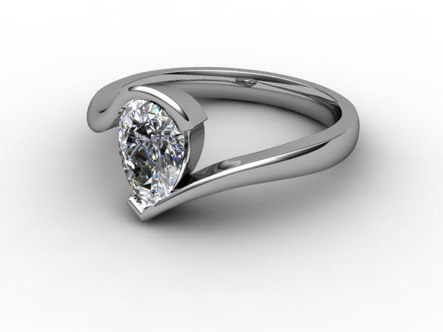 Certificated Pear Shape Diamond Solitaire Engagement Ring in 18ct. White Gold - Main Picture