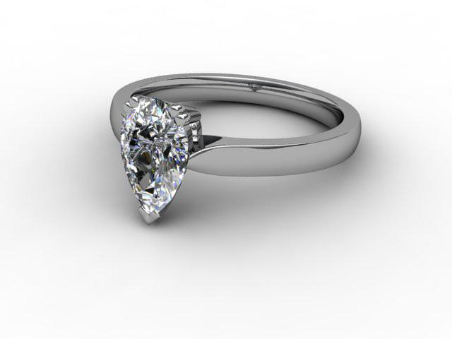 Certificated Pear Shape Diamond Solitaire Engagement Ring in 18ct. White Gold