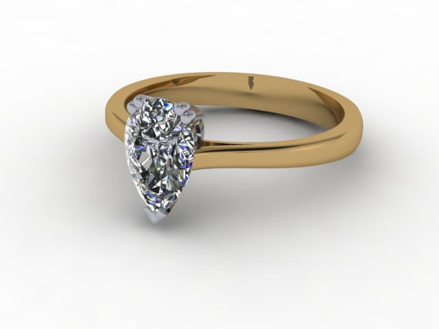 Certificated Pear Shape Diamond Solitaire Engagement Ring in 18ct. Gold