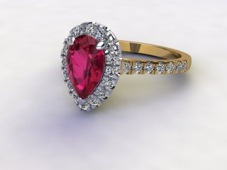 Natural Pink Sapphire and Diamond Halo Ring. Hallmarked 18ct. Yellow Gold-08-2824-8938