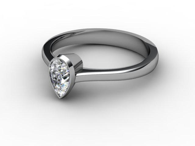 Certificated Pear Shape Diamond Solitaire Engagement Ring in Palladium - Main Picture
