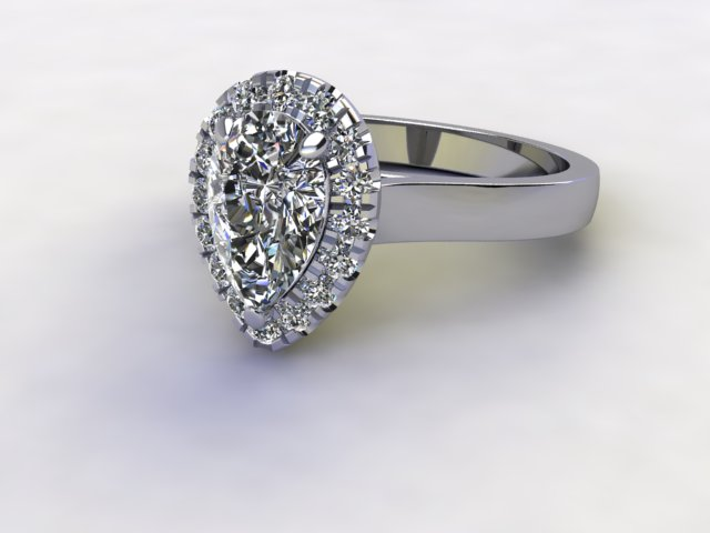 Certificated Pear Shape Diamond in Palladium