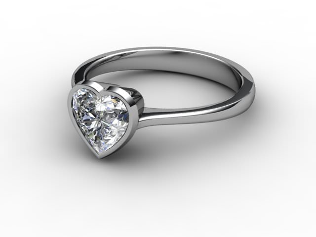 Certificated Heart Shape Diamond Solitaire Engagement Ring in Platinum - Main Picture