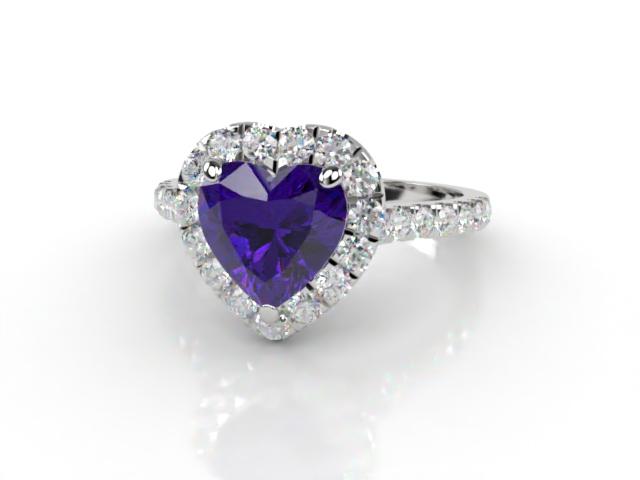 Natural Amethyst and Diamond Halo Ring. Hallmarked Platinum (950)