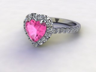 Natural Pink Sapphire and Diamond Halo Ring. Hallmarked Platinum (950)-09-0124-8947