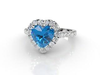 Natural Sky Blue Topaz and Diamond Halo Ring. Hallmarked Platinum (950)-09-0138-8947