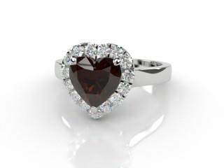 Natural Smoky Quartz and Diamond Halo Ring. Hallmarked Platinum (950)-09-0139-8950