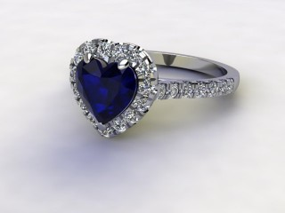 Natural Kanchanaburi Sapphire and Diamond Halo Ring. Hallmarked Platinum (950)-09-0147-8947