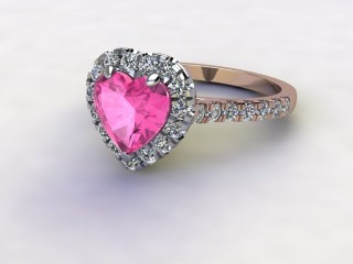 Natural Pink Sapphire and Diamond Halo Ring. Hallmarked 18ct. Rose Gold-09-0424-8947