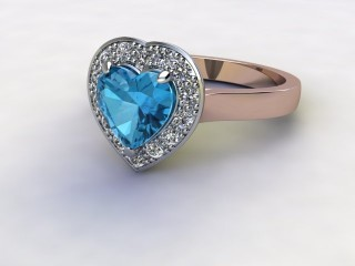 Natural Sky Blue Topaz and Diamond Halo Ring. Hallmarked 18ct. Rose Gold-09-0438-8949