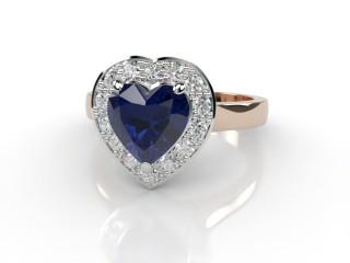Natural Kanchanaburi Sapphire and Diamond Halo Ring. Hallmarked 18ct. Rose Gold-09-0447-8949