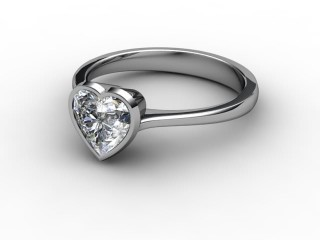 Certificated Heart Shape Diamond Solitaire Engagement Ring in 18ct. White Gold-09-0500-0010