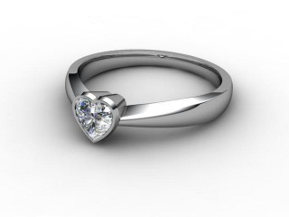 Certificated Heart Shape Diamond Solitaire Engagement Ring in 18ct. White Gold-09-0500-0011