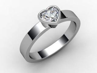Certificated Heart Shape Diamond Solitaire Engagement Ring in 18ct. White Gold-09-0500-6231