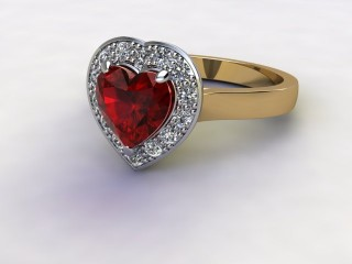 Natural Mozambique Garnet and Diamond Halo Ring. Hallmarked 18ct. Yellow Gold-09-2817-8949