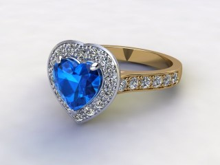 Natural Sky Blue Topaz and Diamond Halo Ring. Hallmarked 18ct. Yellow Gold-09-2838-8948