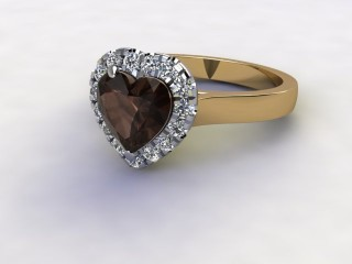 Natural Smoky Quartz and Diamond Halo Ring. Hallmarked 18ct. Yellow Gold-09-2839-8950