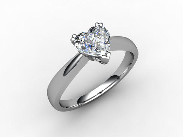 Certificated Heart Shape Diamond Solitaire Engagement Ring in Palladium - Main Picture