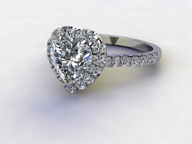 Certificated Heart Shape Diamond in Palladium - Main Picture