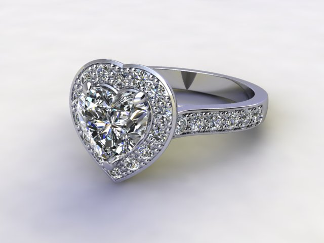 Certificated Heart Shape Diamond in Palladium