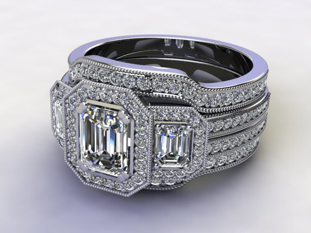 Bridal-Set | Platinum 3 Part Diamond Engagement Ring-Set, Round Brilliant-cut Certified Diamond Selected by You