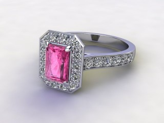 Natural Pink Sapphire and Diamond Halo Ring. Hallmarked Platinum (950)-10-0124-8911
