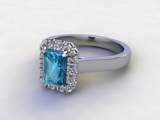 Natural Sky Blue Topaz and Diamond Halo Ring. Hallmarked Platinum (950)-10-0138-8910