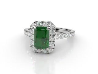 Natural Green Tourmaline and Diamond Halo Ring. Hallmarked Platinum (950)-10-0151-8909