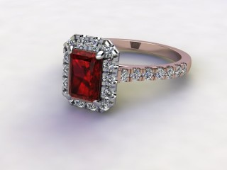 Natural Mozambique Garnet and Diamond Halo Ring. Hallmarked 18ct. Rose Gold-10-0417-8909