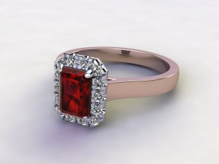 Natural Mozambique Garnet and Diamond Halo Ring. Hallmarked 18ct. Rose Gold-10-0417-8910