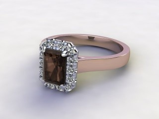 Natural Smoky Quartz and Diamond Halo Ring. Hallmarked 18ct. Rose Gold-10-0439-8910