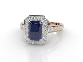 Natural Kanchanaburi Sapphire and Diamond Halo Ring. Hallmarked 18ct. Rose Gold-10-0447-8911