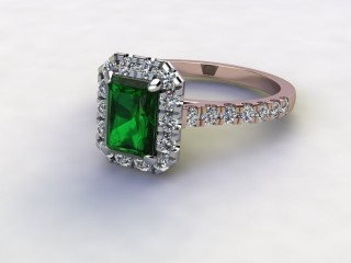 Natural Green Tourmaline and Diamond Halo Ring. Hallmarked 18ct. Rose Gold-10-0451-8909