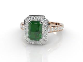 Natural Green Tourmaline and Diamond Halo Ring. Hallmarked 18ct. Rose Gold-10-0451-8911