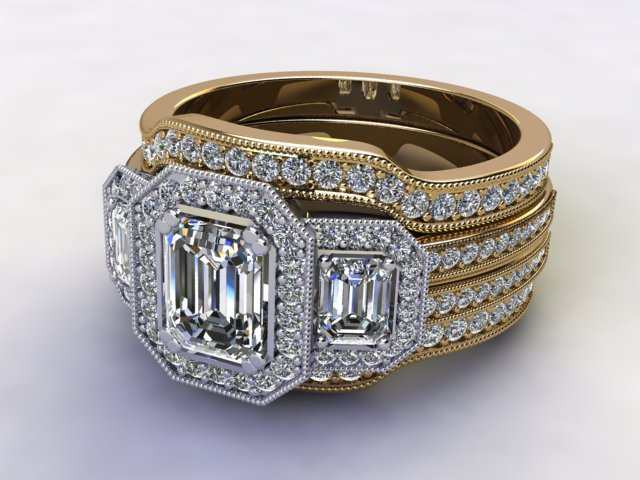 Bridal-Set   18ct. Yellow Gold 3 Part Diamond Engagement Ring-Set, Round Brilliant-cut Certified Diamond Selected by You