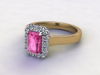 Natural Pink Sapphire and Diamond Halo Ring. Hallmarked 18ct. Yellow Gold-10-2824-8910