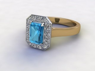 Natural Sky Blue Topaz and Diamond Halo Ring. Hallmarked 18ct. Yellow Gold-10-2838-8912