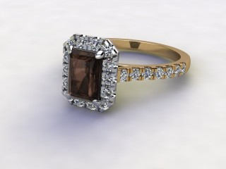 Natural Smoky Quartz and Diamond Halo Ring. Hallmarked 18ct. Yellow Gold-10-2839-8909