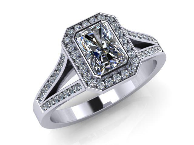 Certificated Radiant-Cut Diamond in Palladium