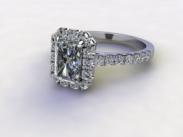 Certificated Radiant-Cut Diamond in Palladium - Main Picture