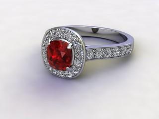 Natural Mozambique Garnet and Diamond Halo Ring. Hallmarked Platinum (950)-11-0117-8954