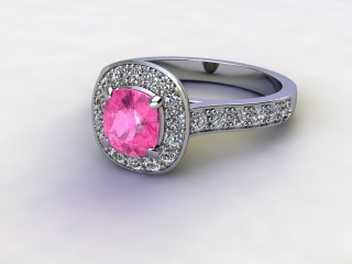 Natural Pink Sapphire and Diamond Halo Ring. Hallmarked Platinum (950)-11-0124-8908