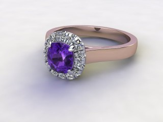 Natural Amethyst and Diamond Halo Ring. Hallmarked 18ct. Rose Gold-11-0412-8913