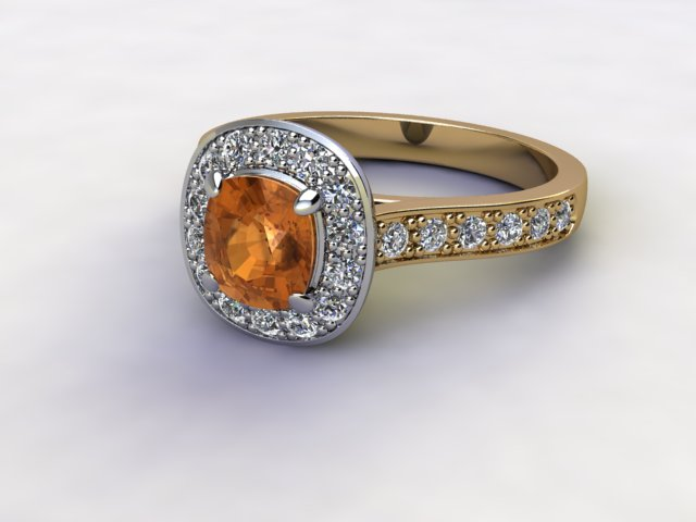 Natural Golden Citrine and Diamond Halo Ring. Hallmarked 18ct. Yellow Gold