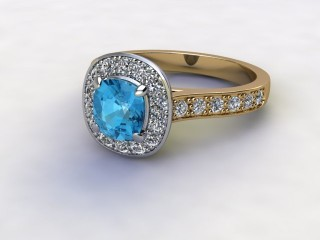 Natural Sky Blue Topaz and Diamond Halo Ring. Hallmarked 18ct. Yellow Gold-11-2838-8952