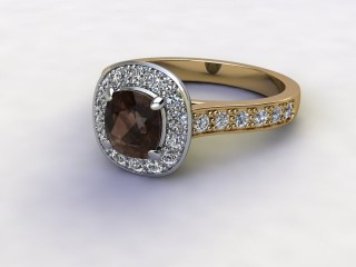 Natural Smoky Quartz and Diamond Halo Ring. Hallmarked 18ct. Yellow Gold-11-2839-8908