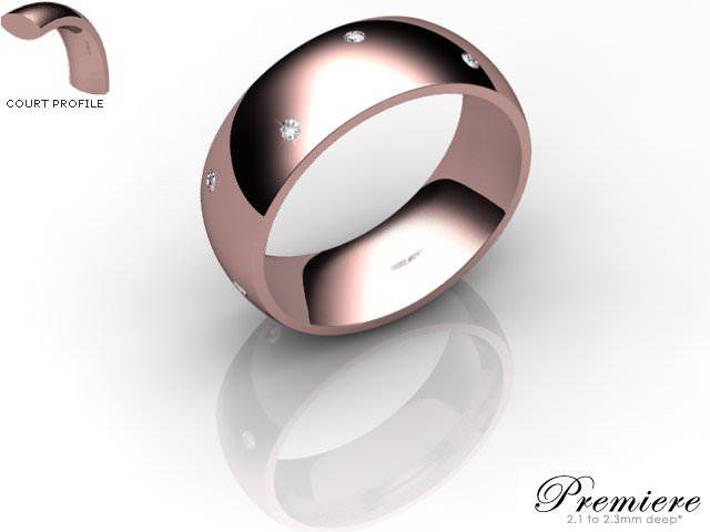 Men's Diamond Scatter 18ct. Rose Gold 7mm. Court Wedding Ring